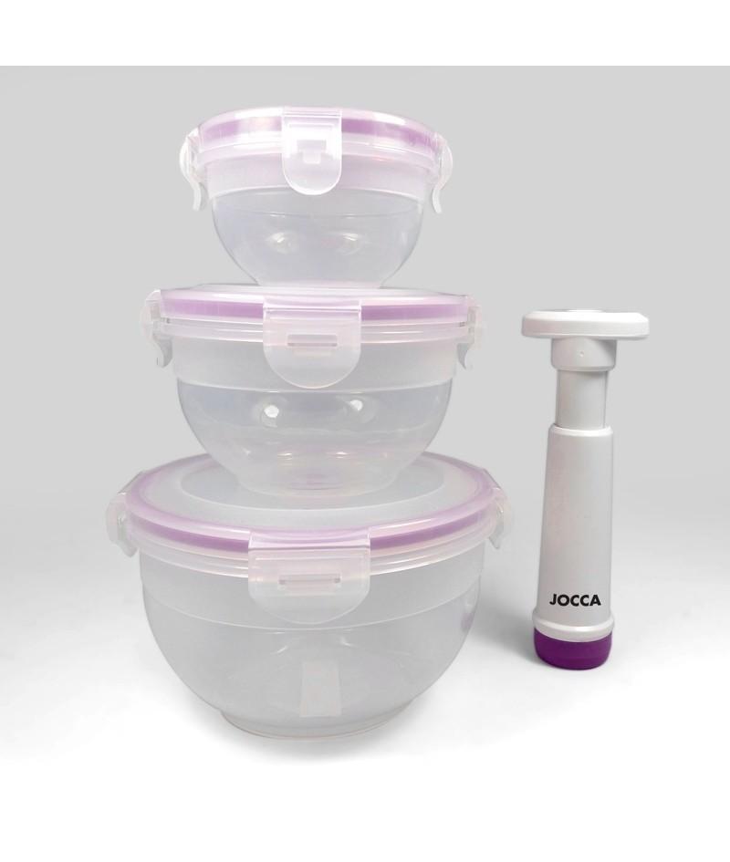 Set de 3 recipientes con bomba al vac o for Remates articulos de cocina